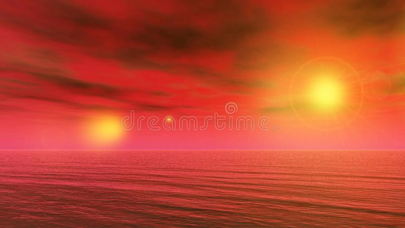 Magic sunrise in the other world vector illustration