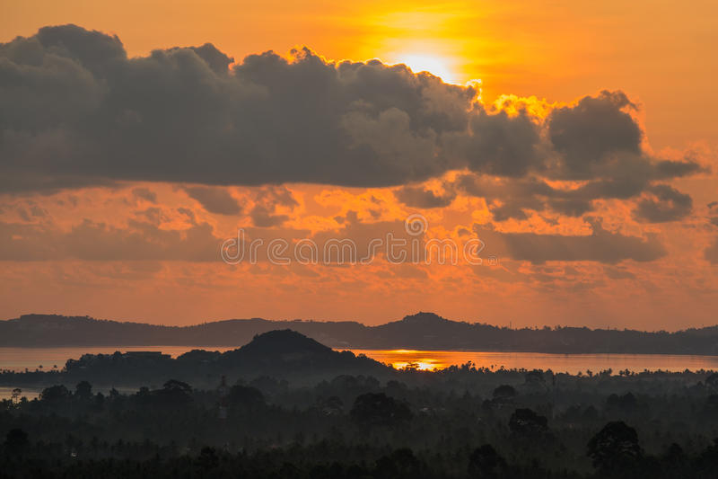 Magic sunrise on a tropical island Koh Samui, Thailand. Beautiful sunrise at Maenam beach, Koh samui island, Thailand stock image