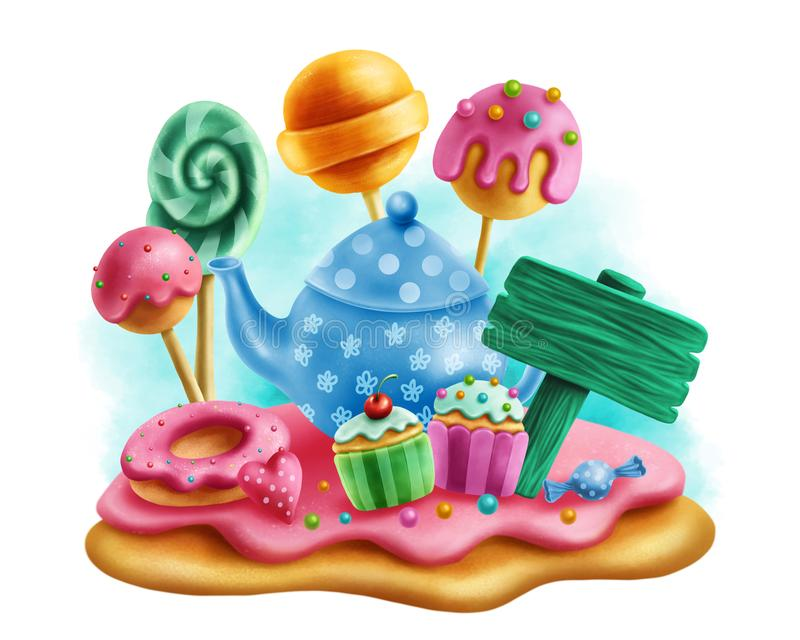Magic sweets for tea party vector illustration