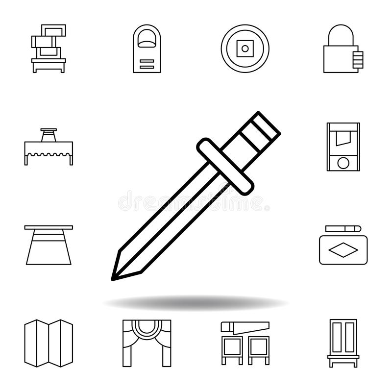 Magic sword outline icon. elements of magic illustration line icon. signs, symbols can be used for web, logo, mobile app, UI, UX. On white background vector illustration