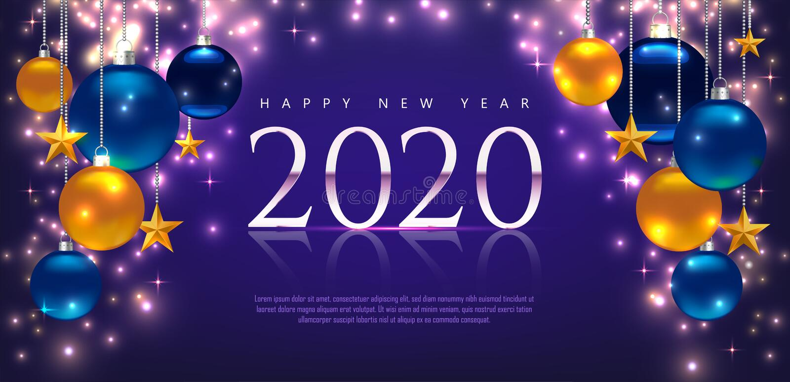 Magic template with greeting Happy New Year 2020. Template for Card, Flyer, poster, invitation, banner. Promotion or shopping stock photos