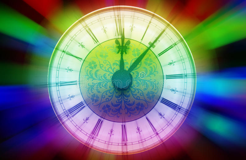 Magic time clock. Vintage clock with roman numbers over colorful blurred background royalty free stock image
