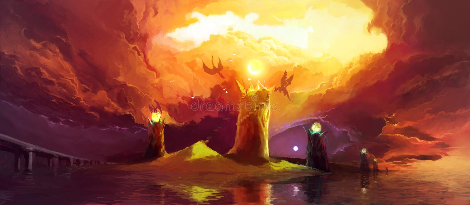 Magic Towers and Dragons stock illustration