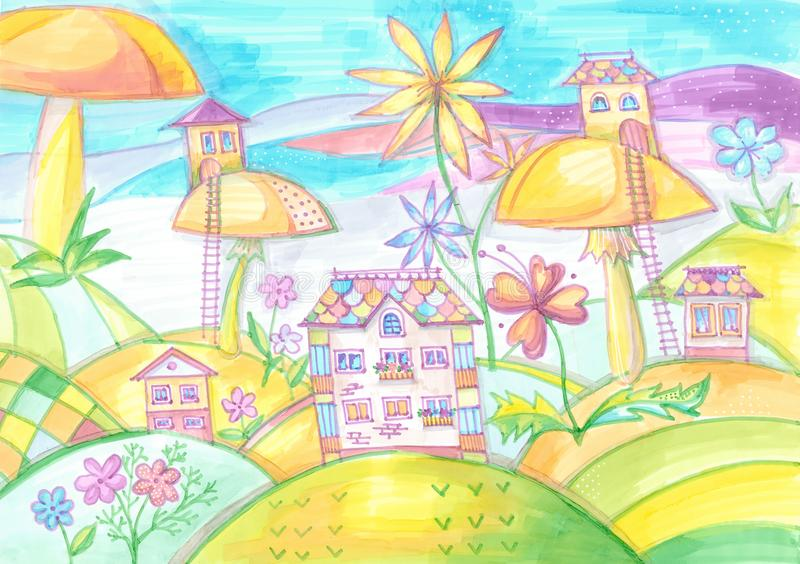 Magic town with houses on mushrooms. Drawing for children. vector illustration