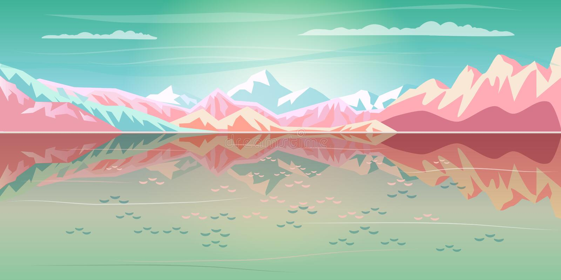 Magic Travel Sunset Sea, Mountain reflection Landscape vector illustration