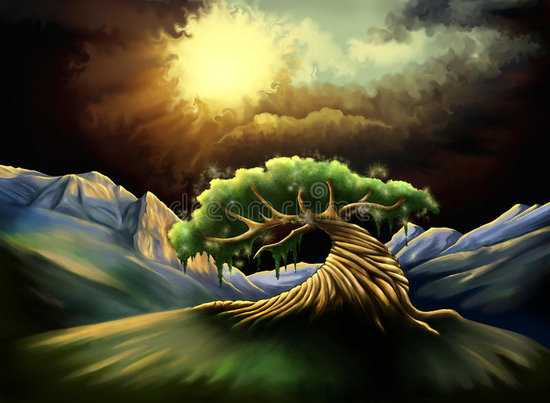Magic tree. In the valley, surrounding by mountains, raster illustration