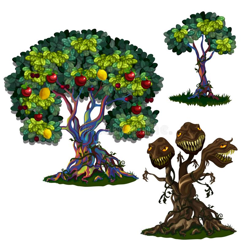 Magic tree with apples and lemons and three-headed monster royalty free illustration