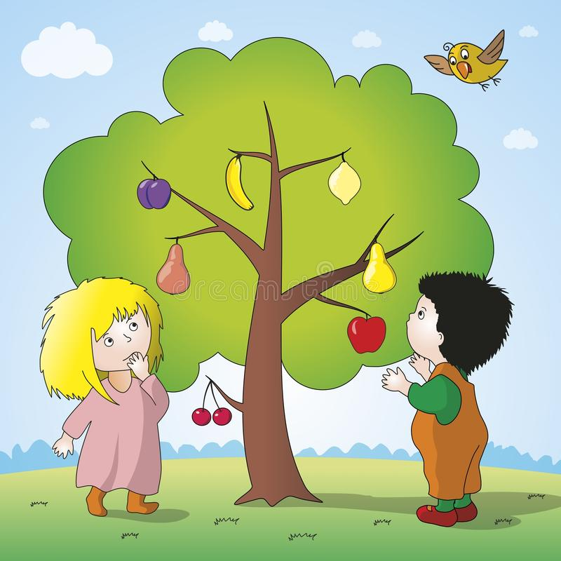 Magic tree. Parents of children joked hang on the tree different fruits. Vector format