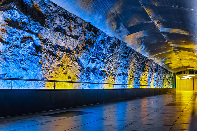 Magic tunnel of Monaco. Blue and gold shining illuminated in a tunnel of Monaco, looks like a magic palace