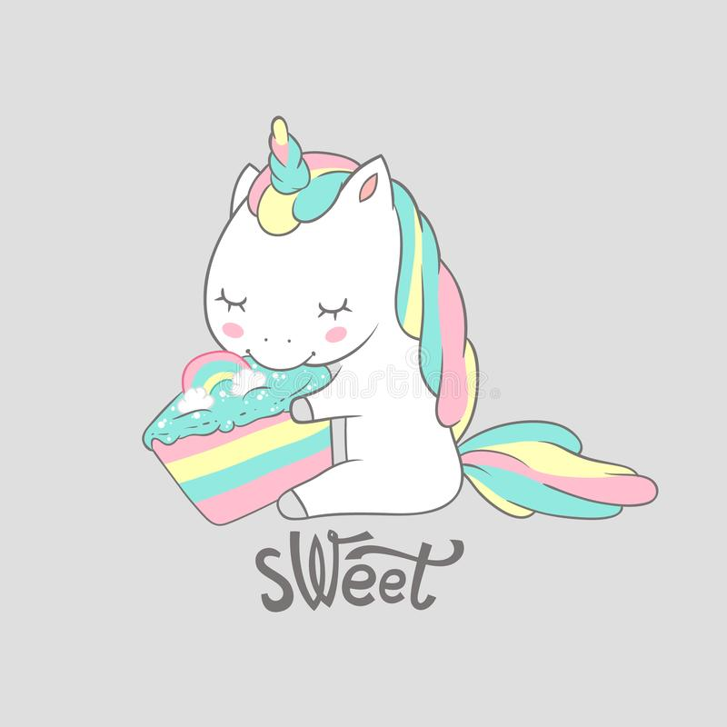 Magic Unicorn Eat Sweet Birthday Cake Poster Print. Cute Greeting Card Template with Adorable Happy Fancy Horse. Can be. Used for t-shirt print, kids wear stock illustration