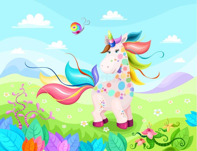 Magic unicorn illustration with beautiful background vector illustration