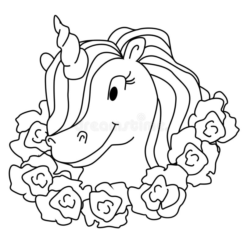 Magic unicorn isolated illustration. Vector coloring page vector illustration