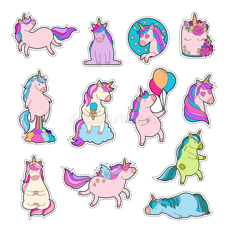 Download magic unicorn patches trendy pink unicorn sticker pack stock vector illustration of patch