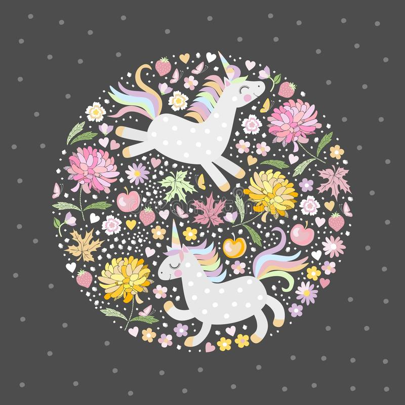 Magic unicorns in flowering garden with pink and yellow flowers. Vector illustration for print on t-shirts, greeting or invitation royalty free illustration