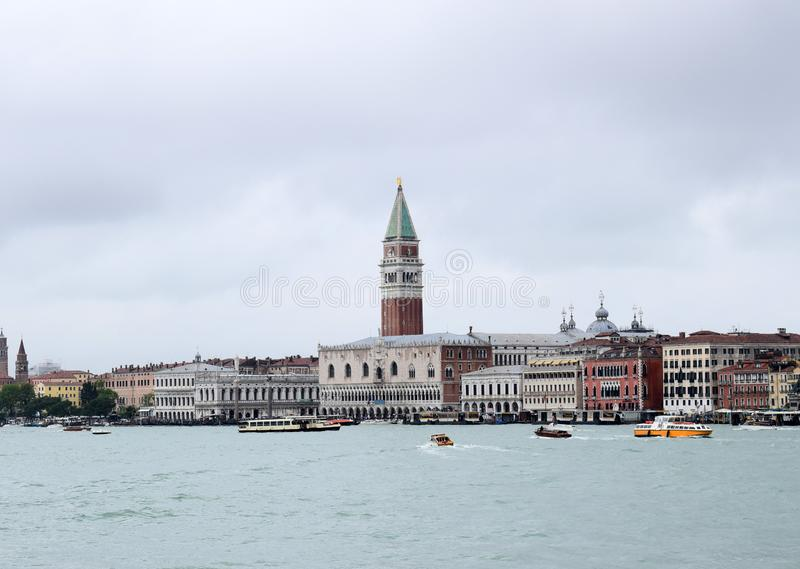 Magic Venice - view from the boat. View of Venetian sights from a distance royalty free stock photography
