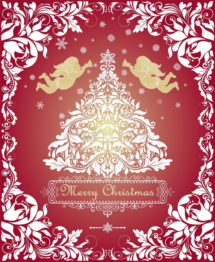 Magic vintage Christmas greeting card with cut out floral xmas white tree, gold angels and decorative floral frame stock illustration