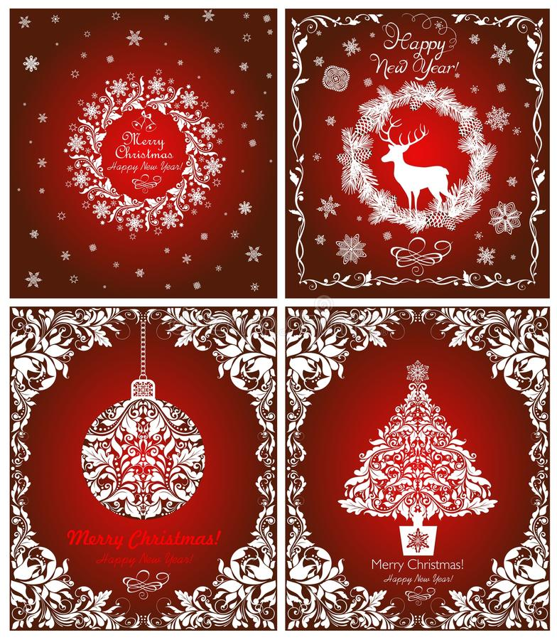 Magic vintage greeting red cards for winter holidays with cut out paper white wreath, Christmas tree, hanging ball, snowflakes, fl royalty free illustration
