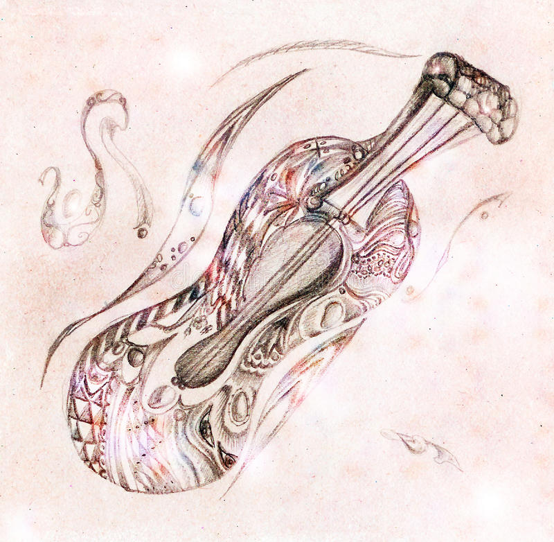 Magic violin. Picture by a pencil stock illustration