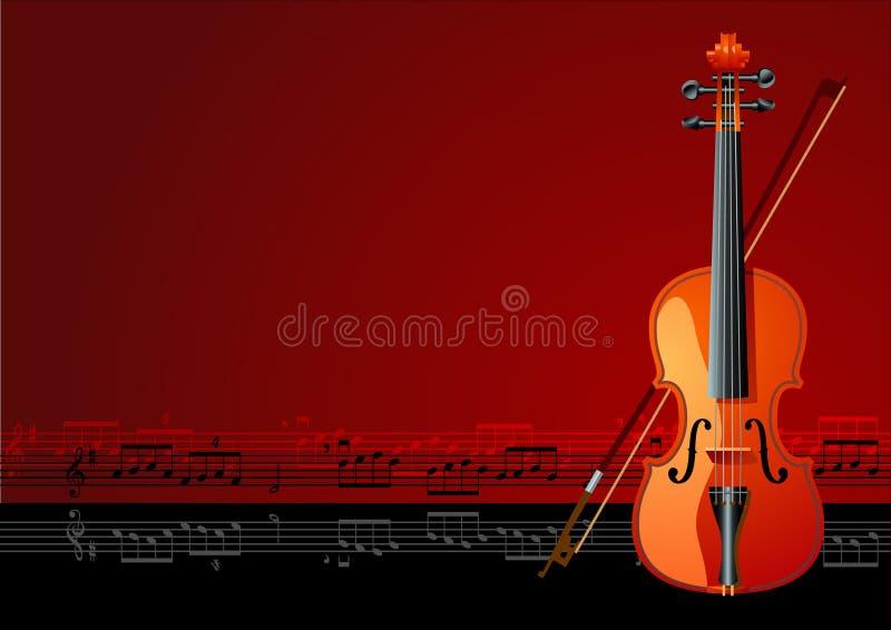 Magic violin. Violin on brown background, vector illustration stock illustration