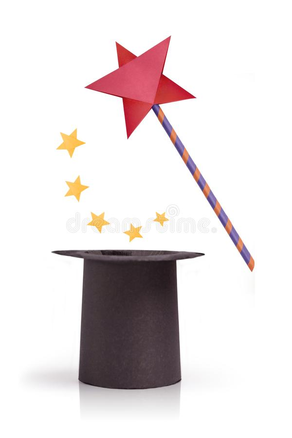 Magic wand and cylinder hat royalty free stock photography