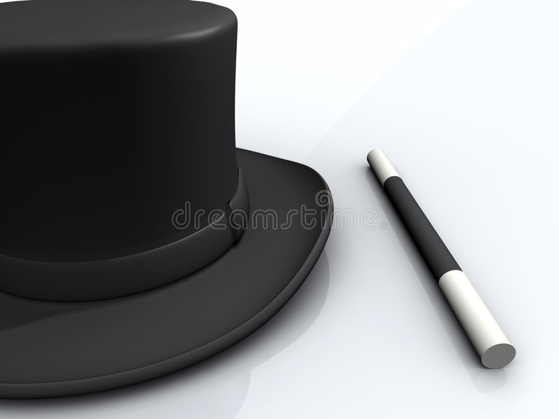 Download Magic wand and hat stock illustration. Illustration of wand - 3492883