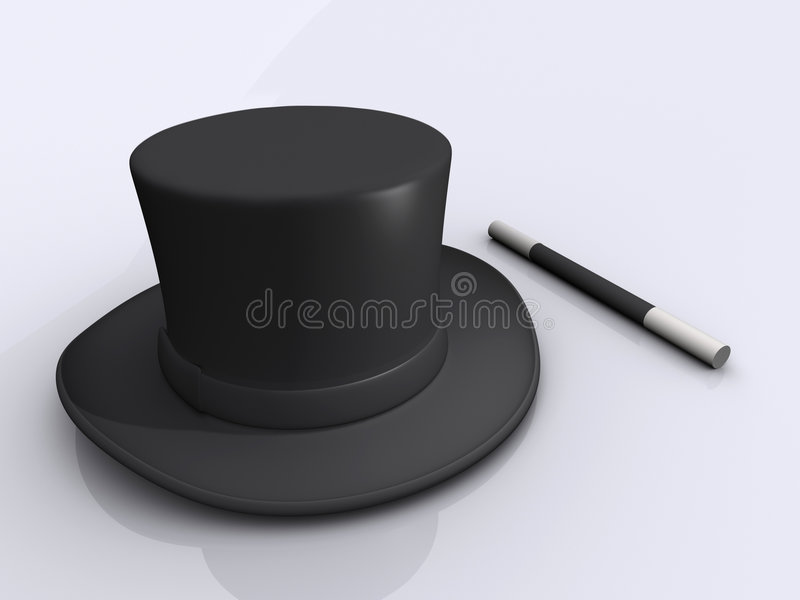 Magic wand and hat royalty free illustration