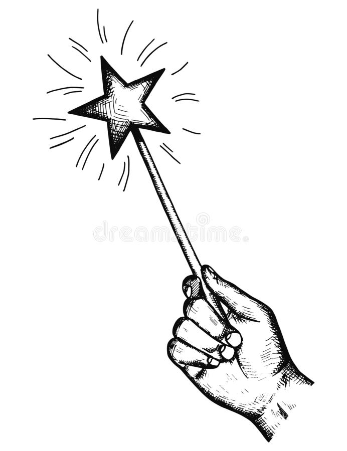 the magic wand in his hand holds the wishes of the sketch. wonders isolated vector object vector illustration