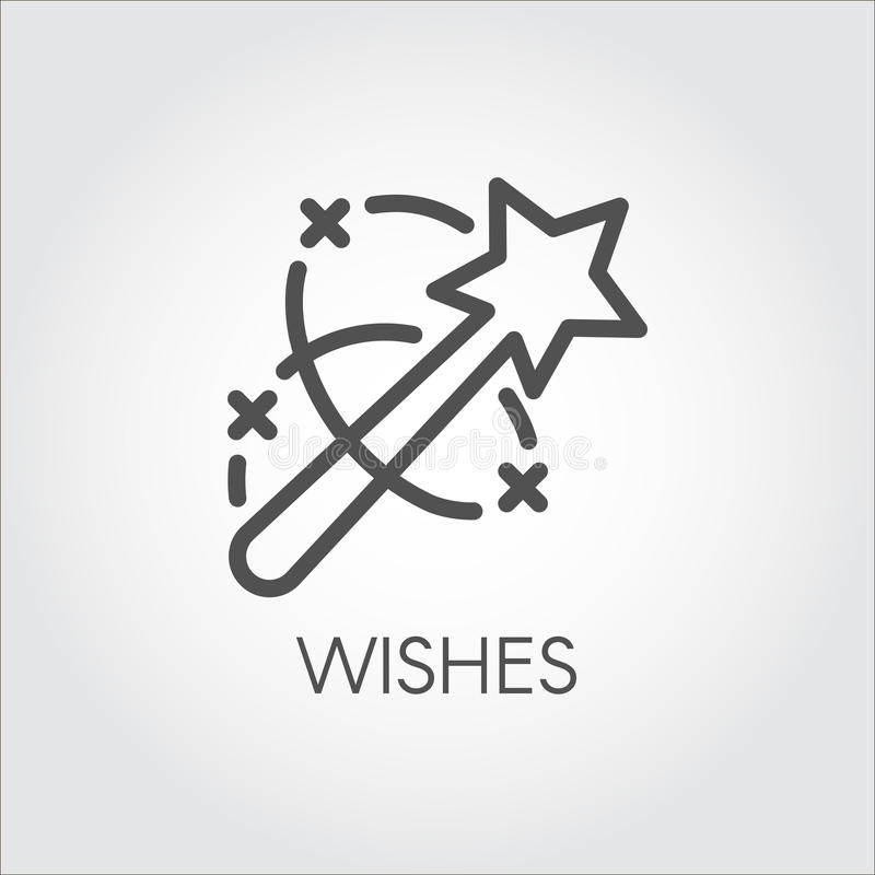 Magic wand icon. Flat simple label drawn in line art style. Simple logo or button. Vector contour pictograph royalty free illustration