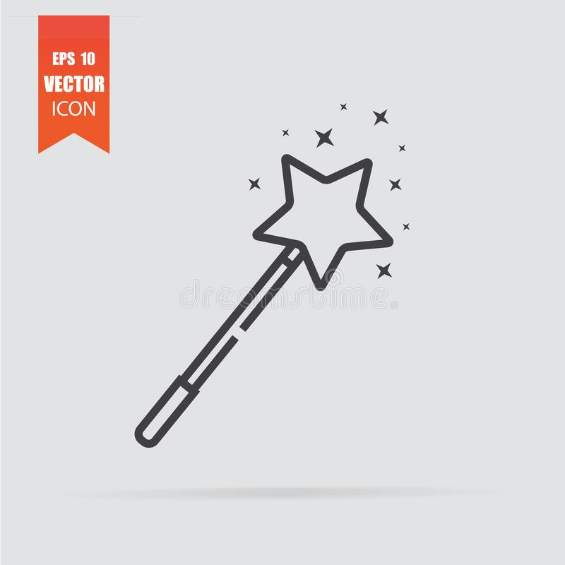 Magic wand icon in flat style isolated on grey background royalty free stock photography