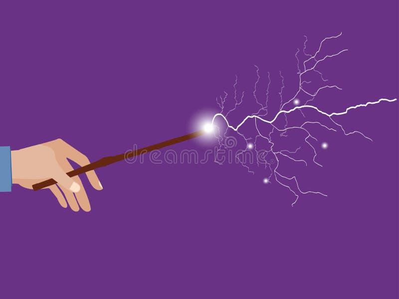 Magic wand. Magic stick in hand. Magic lightning. Rose quartz and serenity violet background. Vector illustration stock illustration