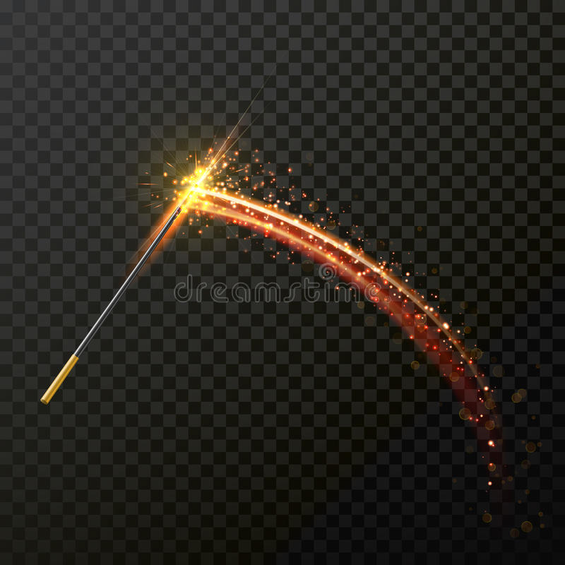 Magic wand with magical sparkle glitter light trail trace stock illustration