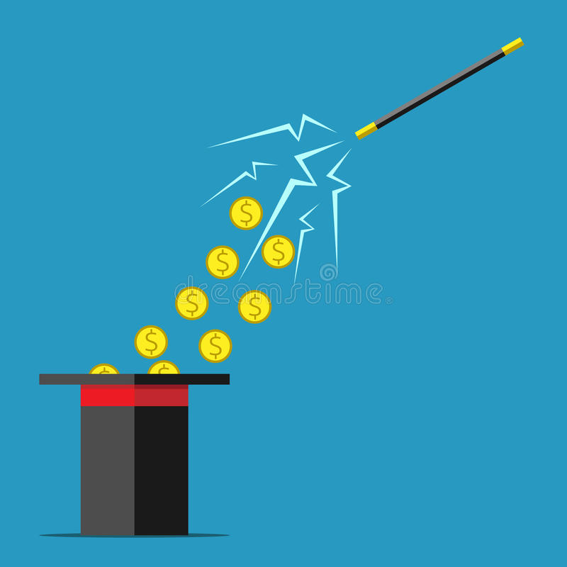 Magic wand and money stock illustration