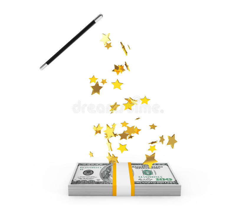 Magic Wand with money vector illustration