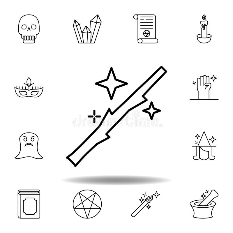 magic wand with star outline icon. elements of magic illustration line icon. signs, symbols can be used for web, logo, mobile app stock illustration