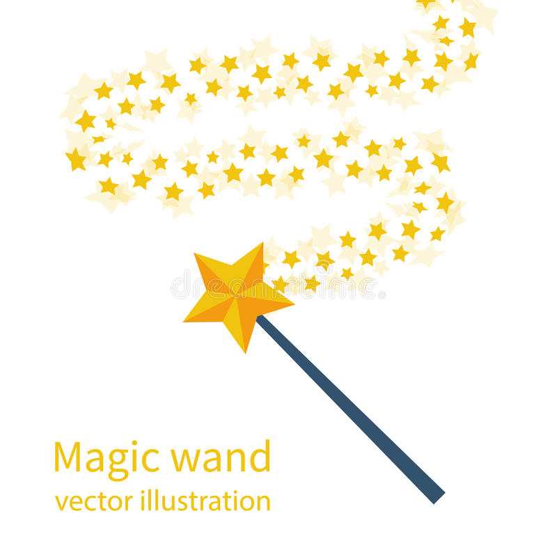 Magic wand with a star stock illustration
