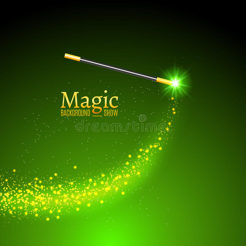 Magic wand vector background. Miracle magician wand with sparkle lights stock illustration