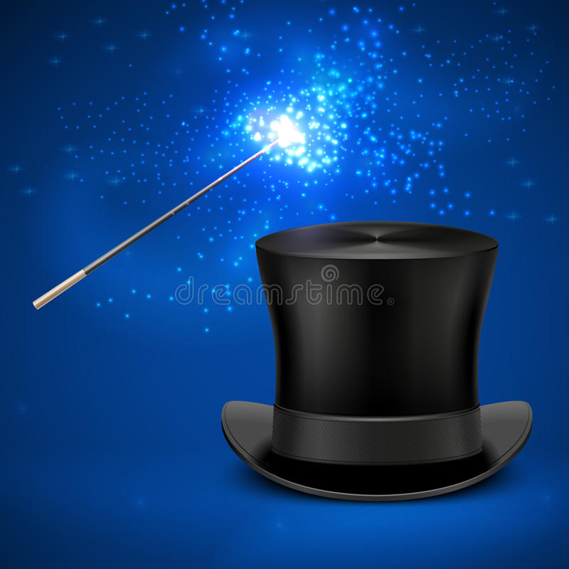 Magic wand and vintage top hat vector entertainment christmas background