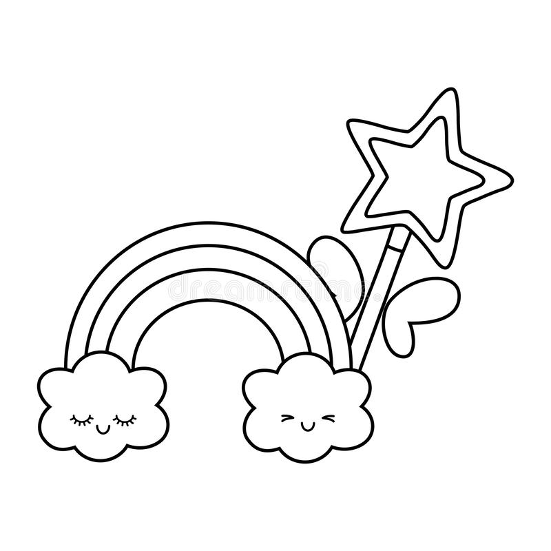 Free Magic Wand With Cloud And Rainbow Black And White Royalty Free Stock Images - 145064049