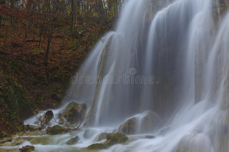 Magic Waterfalls In The Mountains In November Stock Photos