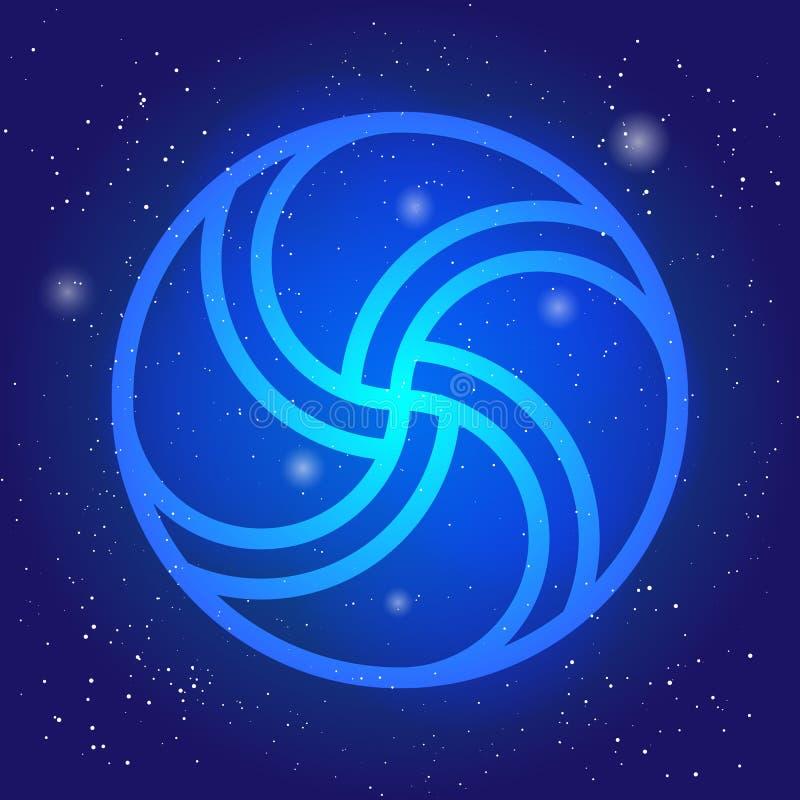 Magic wheel 3d. Sacral geometry symbol in space. Scandinavian cosmic style illustration. Enigmatic celtic design. stock illustration