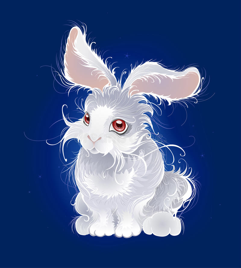 Magic white rabbit vector illustration