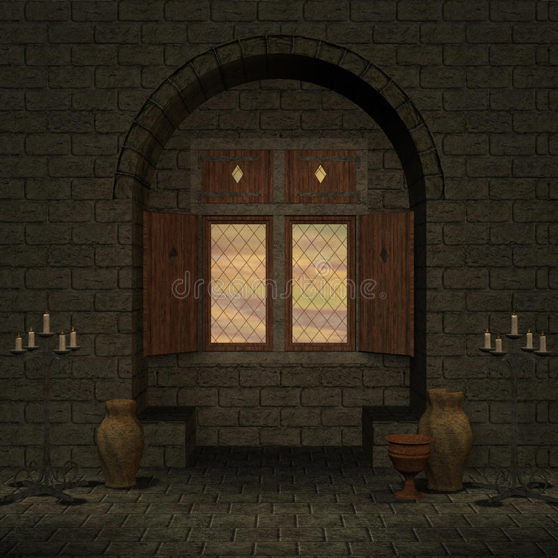 Magic window in a fantasy setting royalty free illustration