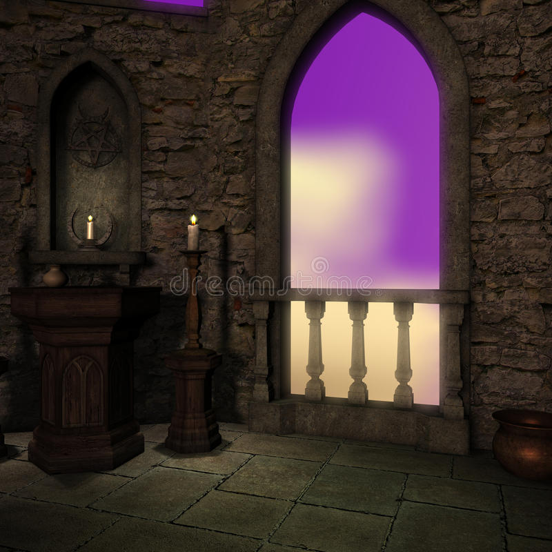 Magic window in a fantasy setting stock illustration