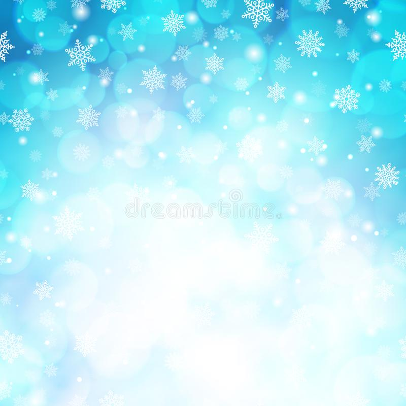 Magic winter glitter background with snowflakes stock illustration