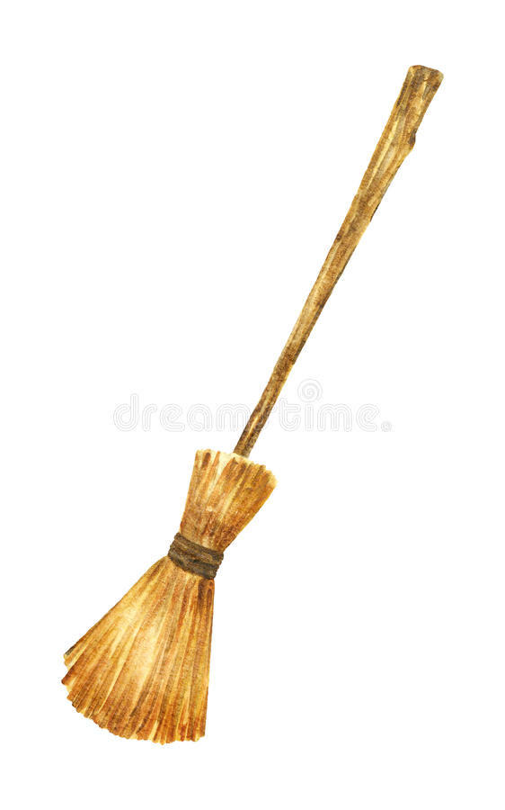 Magic Witch Broom. House cleaning equipment. Watercolor illustration. stock image