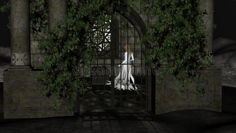 Magic Witch of the Night. Fantastic Princess inside Crypt royalty free illustration