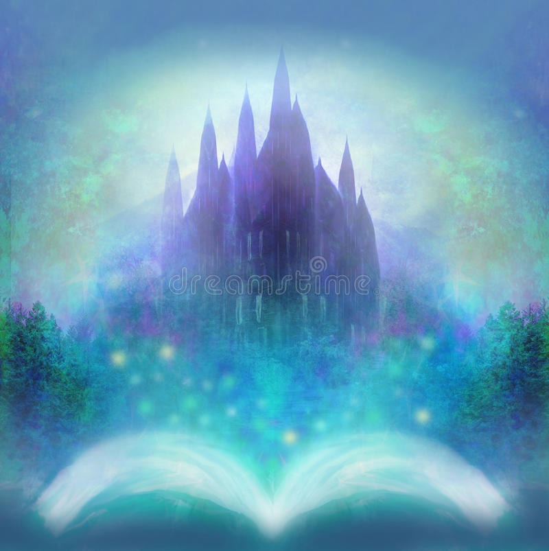 Magic world of tales, fairy castle appearing from the book. Raster royalty free illustration