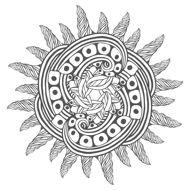 Download Magic Zentangle Art For Coloring Book Pages Mandala Tattoo Design Vector Illustration