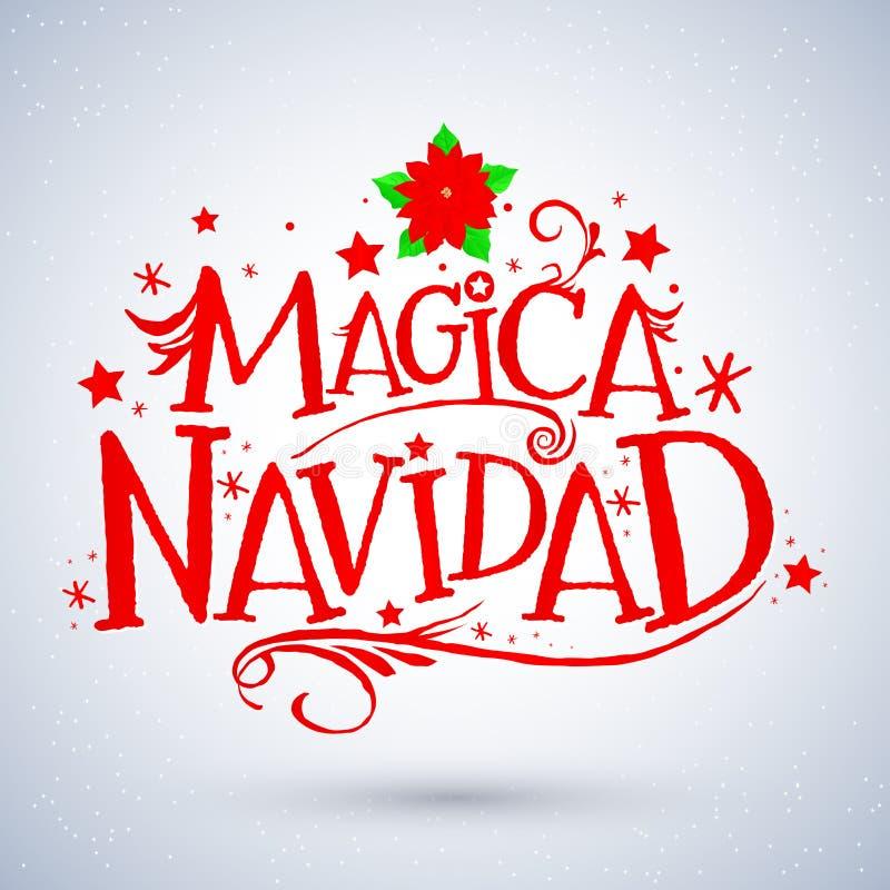 Magica Navidad, traduction espagnole : Noël magique, carte de voeux de vacances Lettrage de Joyeux Noël illustration de vecteur