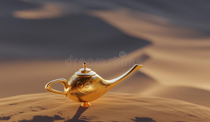 Magical Aladdin lamp with genie. Desert in background. 3D rendered illustration. Magical Aladdin lamp with genie. Desert in background. 3D rendered illustration vector illustration